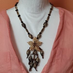 Vintage Mixed Media Wood Necklace